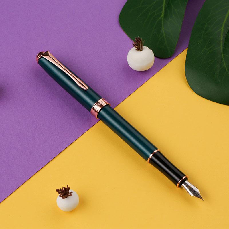 英雄(HERO)钢笔850 墨绿色 男女商务个性办公签字笔钢笔礼盒墨水套装