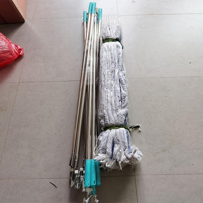 迈腾 大堂尘推蓝白色 商场平板拖把 加厚粗线棉纱长拖把 厂区尘推90cm带杆整套
